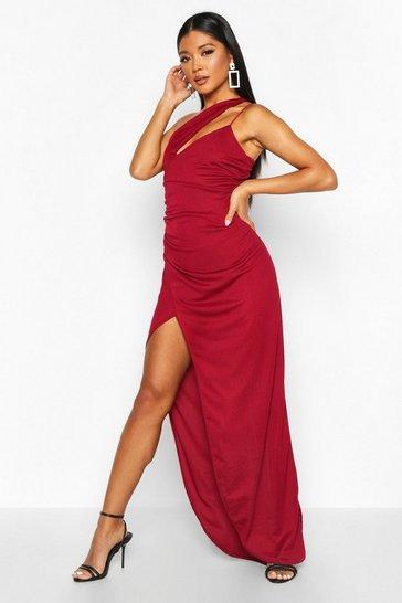 Berry One Shoulder Maxi Dress