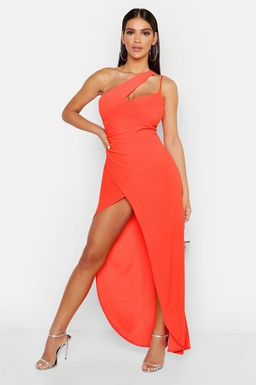 Orange One Shoulder Maxi Dress