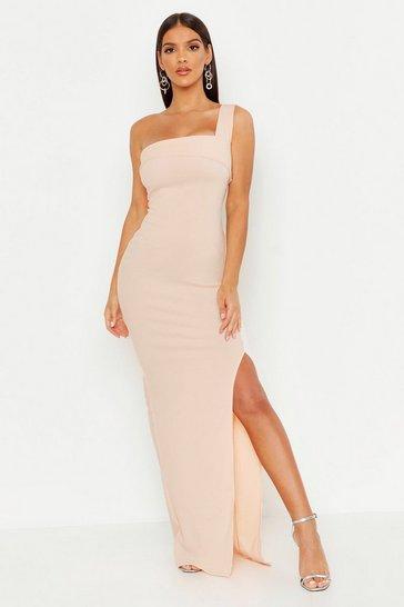 Blush One Shoulder Thigh Split Maxi Dress