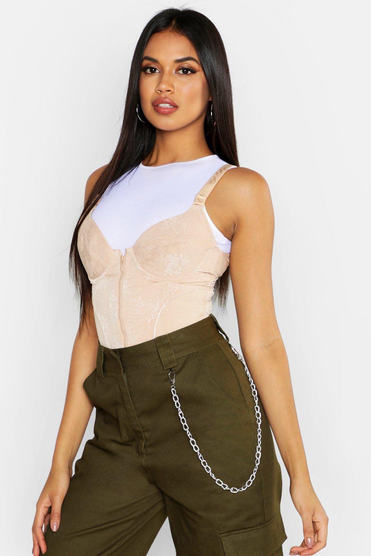Womens Korsage mit vorderseitigem Reißverschluss - Beige - XL, Beige - Boohoo.com
