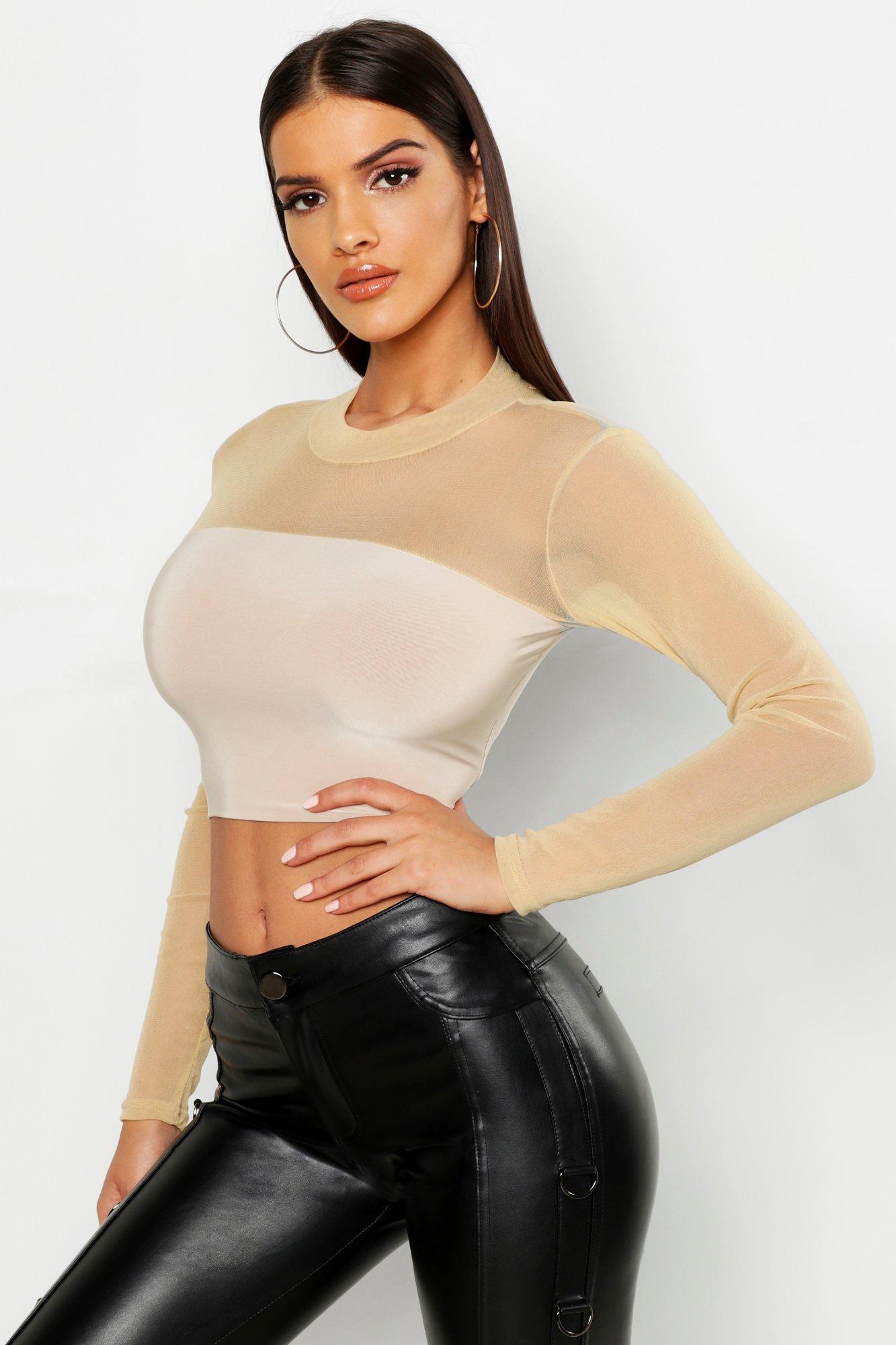 Womens Crop Top aus Netzstoff mit Karree-Ausschnitt - steingrau - 36, Steingrau - Boohoo.com