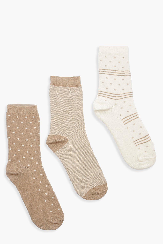 Купить Hosiery, Tonal Pattern 3 Pack Socks, boohoo
