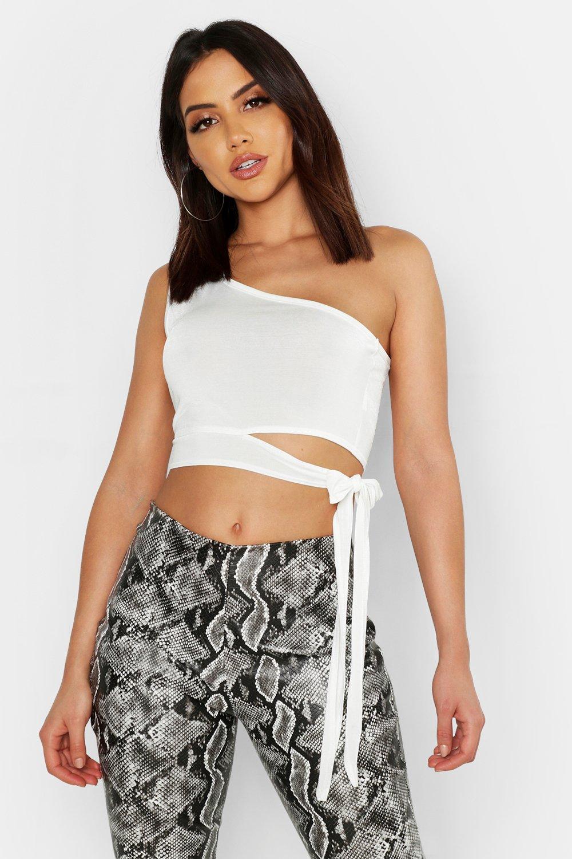 Womens One-Shoulder-Oberteil aus glänzendem Jersey mit Schnürung - Weiß - 40, Weiß - Boohoo.com