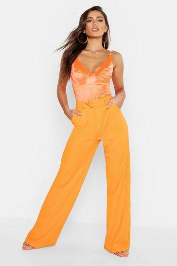 Orange Seam Front Crepe Wide Leg Trousers