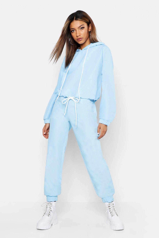 Womens Brushed Shellsuit Tracksuit - blue - 38, Blue - Boohoo.com