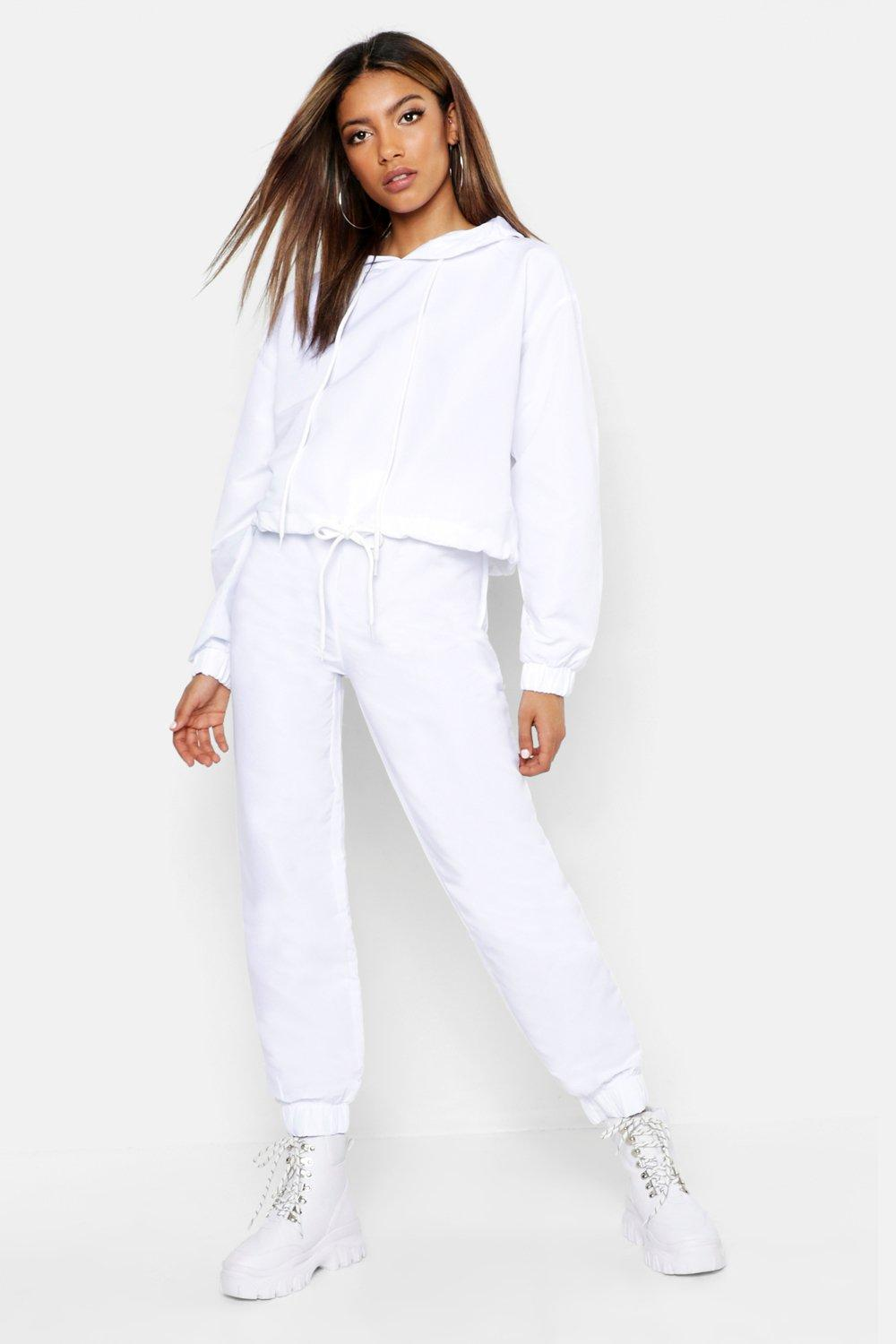Womens Brushed Shellsuit Tracksuit - white - 40, White - Boohoo.com