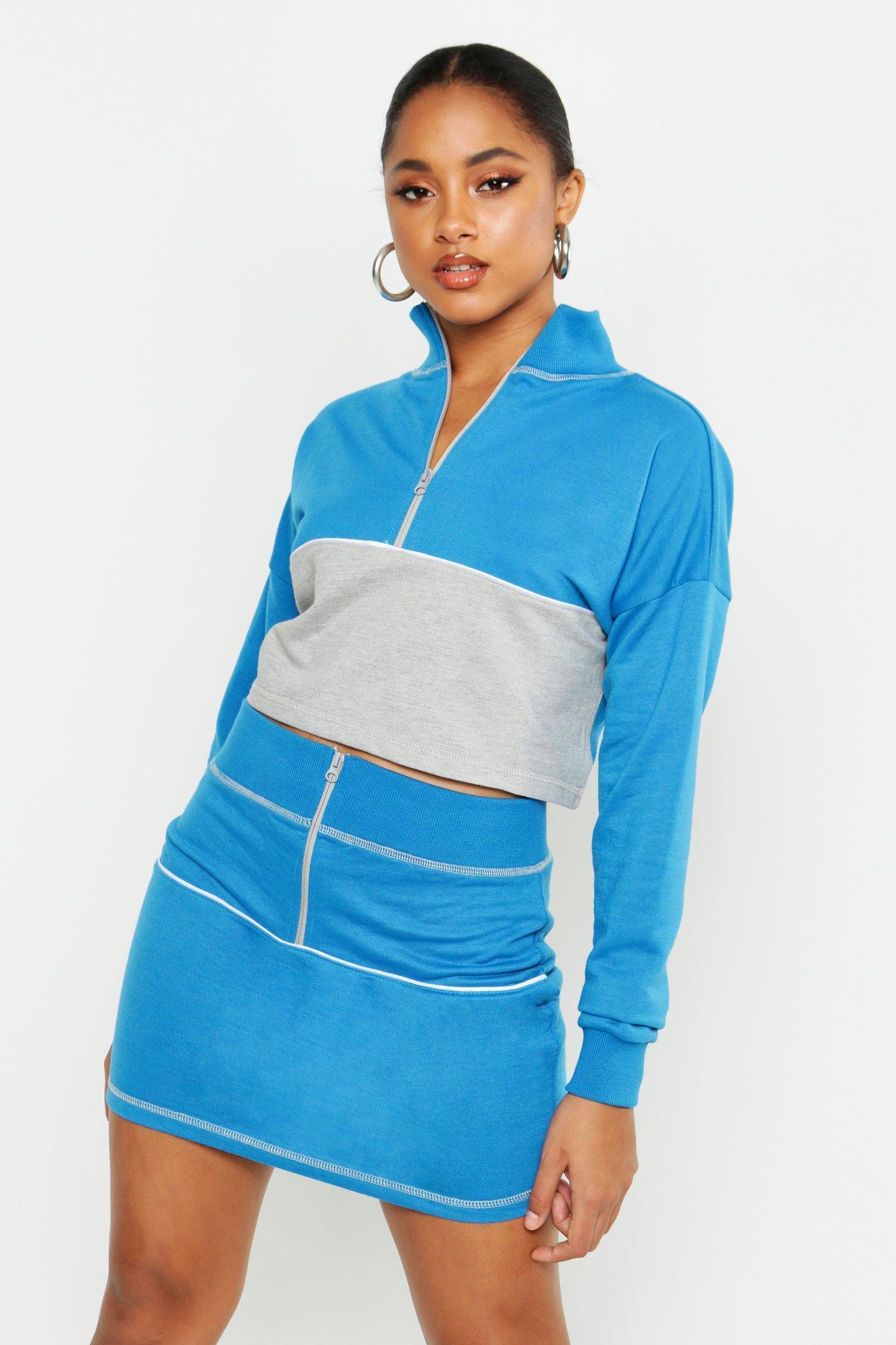 Womens Zip Front Panelled Sweat & Mini Skirt Set - blue - 34, Blue - Boohoo.com