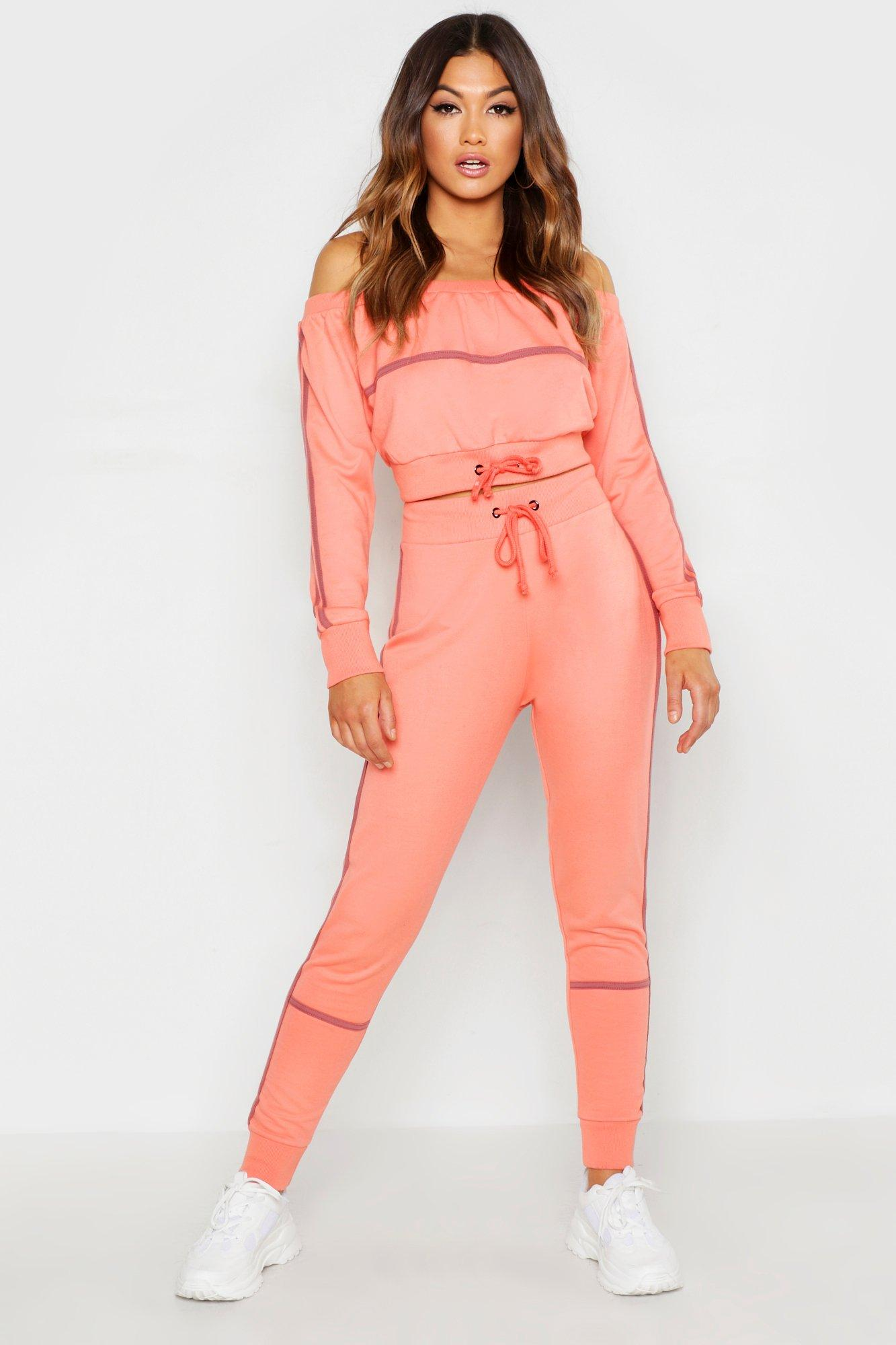 Womens Off The Shoulder Piping Detail Tracksuit - coral - 40, Coral - Boohoo.com
