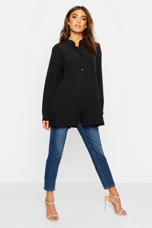 Womens Oversized Bluse aus Webstoff mit plissiertem Saum - schwarz - 34, Schwarz - Boohoo.com
