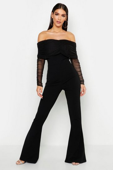 Black Mesh Bardot Ruched Jumpsuit