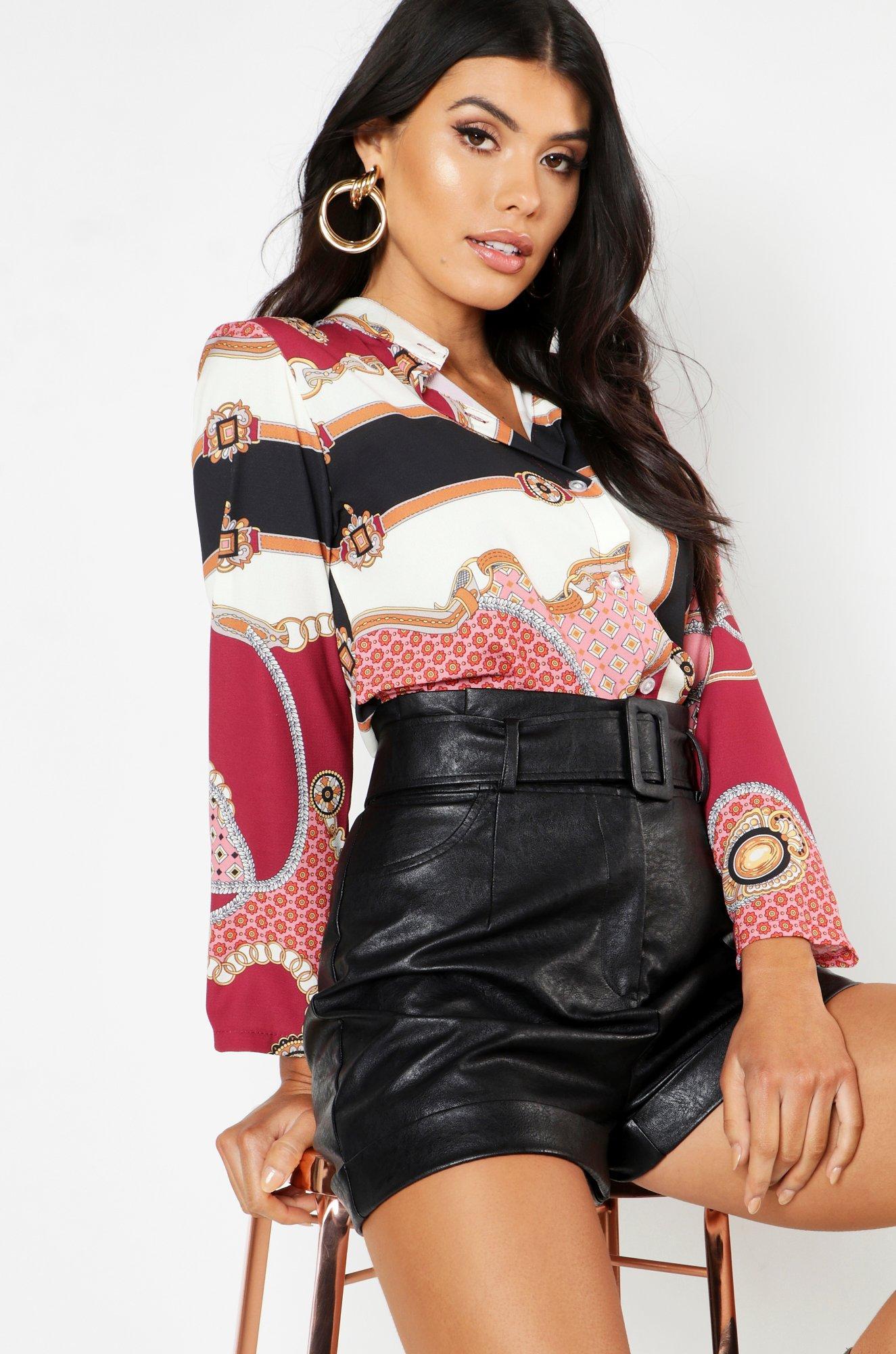 Womens Gewebtes Hemd mit Knopfleiste und Barockmuster - rosa - 34, Rosa - Boohoo.com