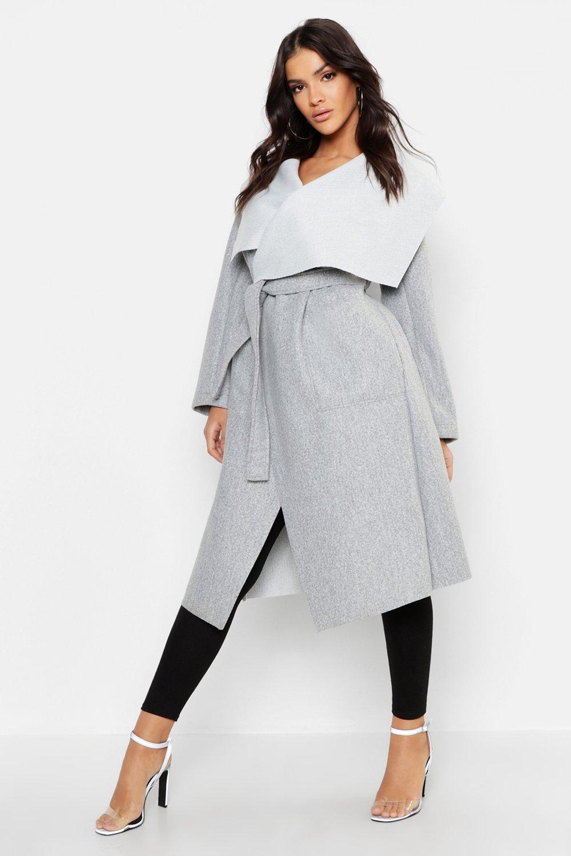 Купить Coats & Jackets, Shawl Collar Belted Wool Look Coat, boohoo