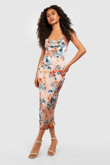 Gold Satin Floral Cowl Flute Hem Slip Dress