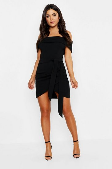 Black Off The Shoulder Wrap Detail Bodycon Dress
