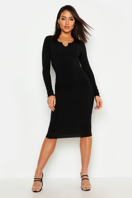 Купить Dresses, Notch Neck Lettuce Hem Rib Midi Dress, boohoo