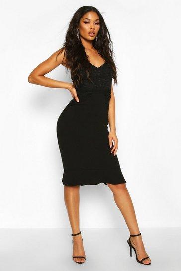 Black Lace Panel Ruffle Hem Midi Dress