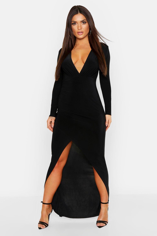 Купить Dresses, Wrap Detail Long Sleeve Maxi Dress, boohoo