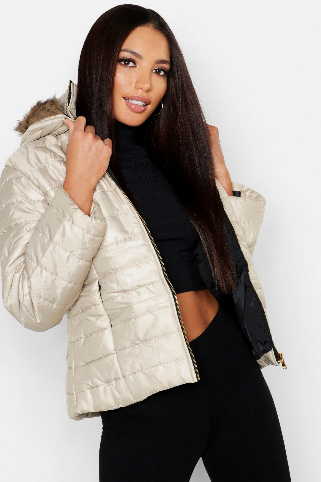 Купить Coats & Jackets, Faux Fur Hooded Cire Panelled Jacket, boohoo