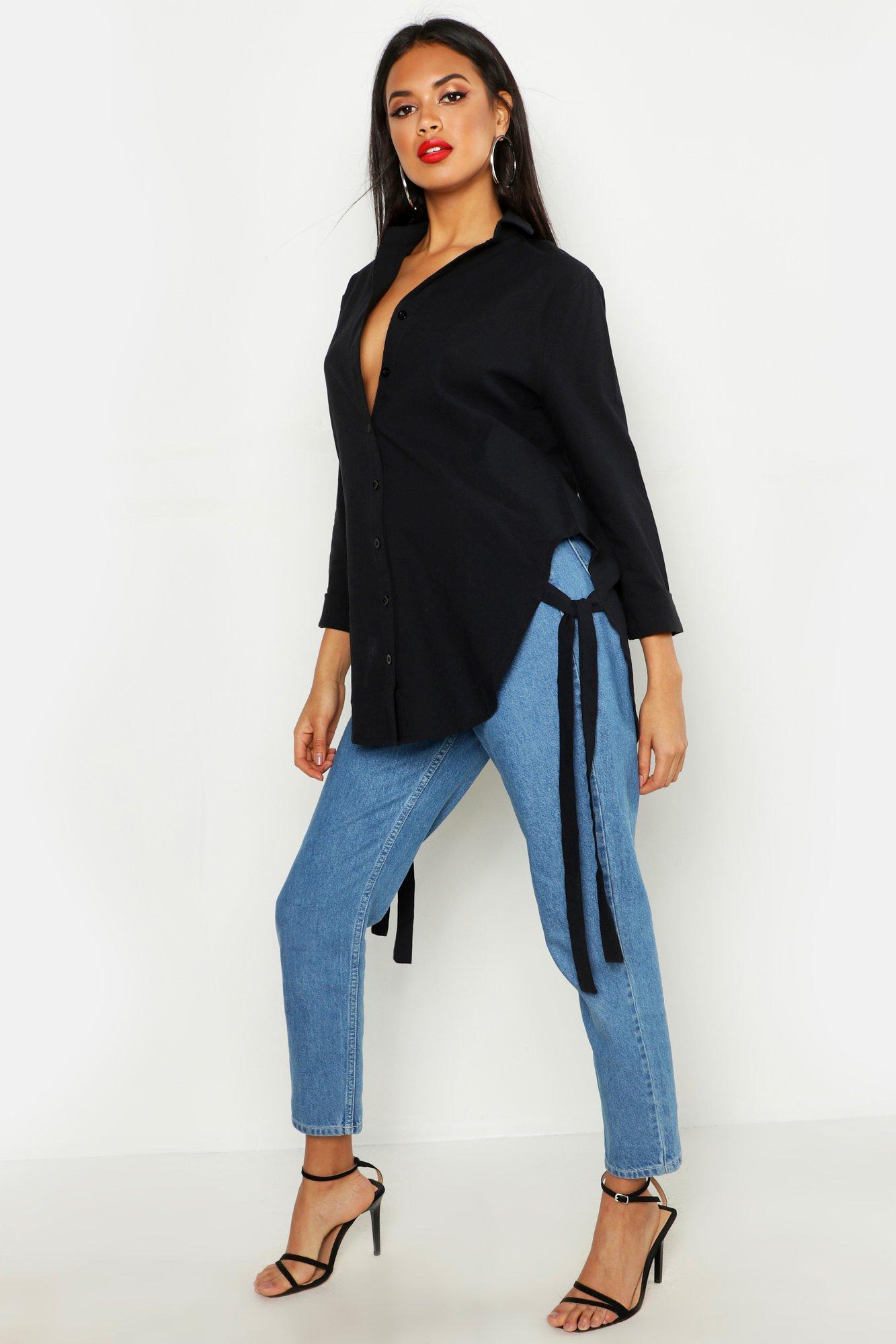 Womens Oversized-Longline-Hemd in Leinen-Optik mit seitlicher Bindung - schwarz - 34, Schwarz - Boohoo.com