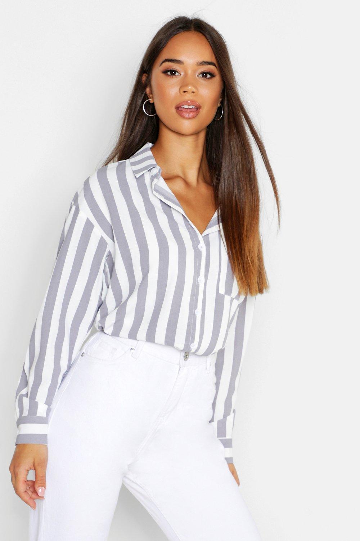 Womens Langärmeliges Streifenoberteil mit Tasche - Weiß - 32, Weiß - Boohoo.com
