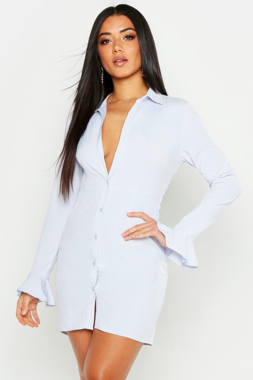 Womens Blusenkleid mit Wickeldetail und ausgestellten Bündchen - grau - 36, Grau - Boohoo.com