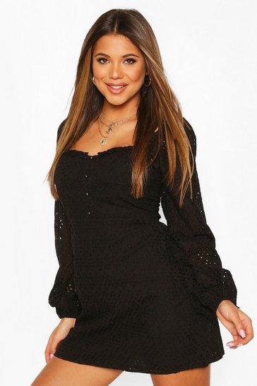 Black Broderie Anglais Sweetheart Mini Dress