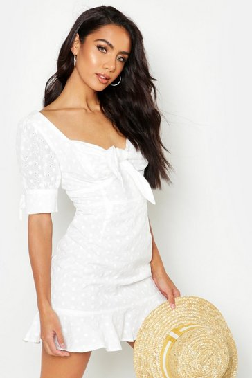 Ivory Knot Front Broderie Anglais Mini Dress