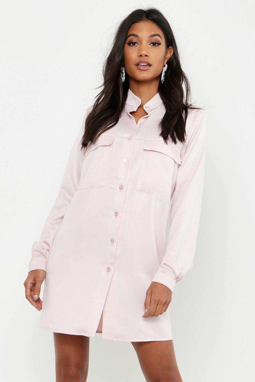 Womens Blusenkleid aus Satin mit Tasche - Blassrosa - 40, Blassrosa - Boohoo.com