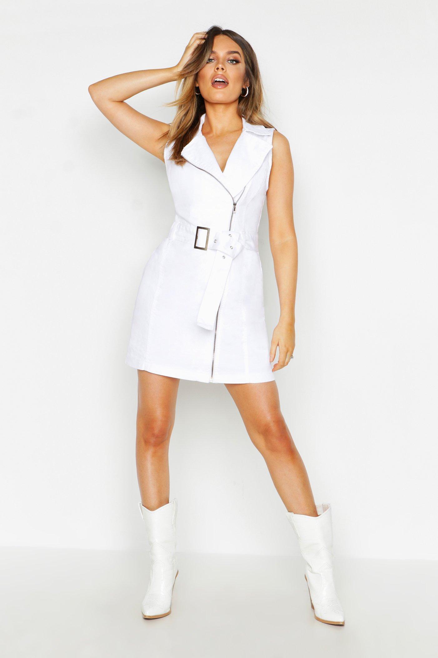 Womens Ärmelloses Jeanskleid mit Gürtel und Reißverschluss - Weiß - 34, Weiß - Boohoo.com