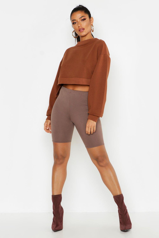 Womens Sweatshirt mit tiefem Saum und kurzer Vorderseite - Schokoladenbraun - L, Schokoladenbraun - Boohoo.com