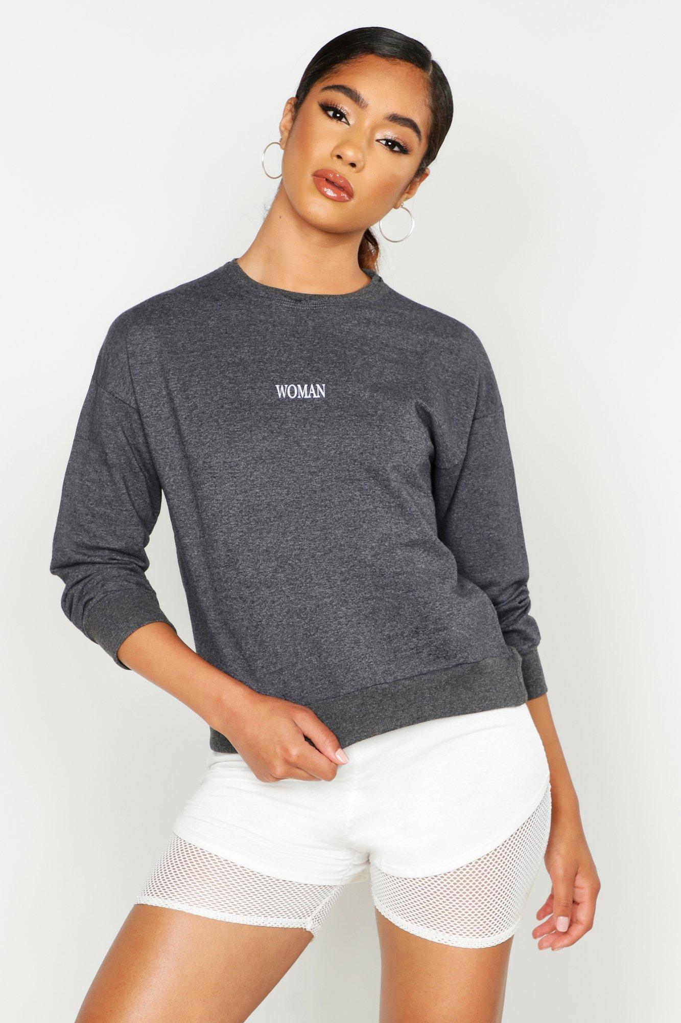 Womens Leichtes Sweatshirt mit Ziernähten und Slogan - dark grey - 34, Dark Grey - Boohoo.com