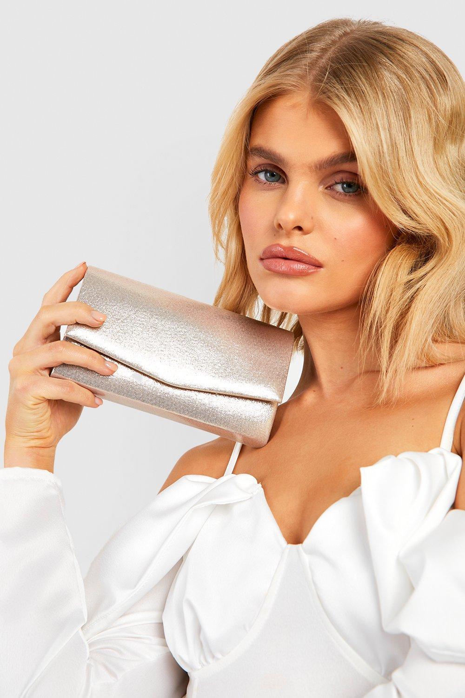 boohoo Womens Structured Metallic Clutch Bag & Chain - Metallics - One Size, Metallics
