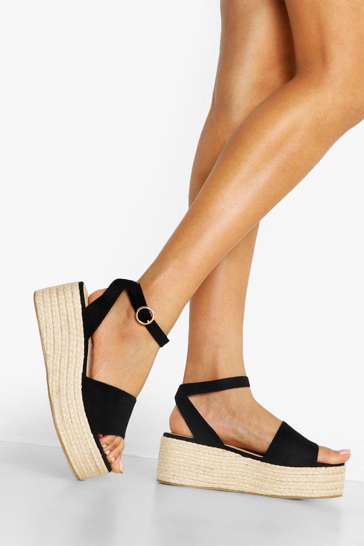 Широкие сандалии на плоской платформе из 2 частей фото