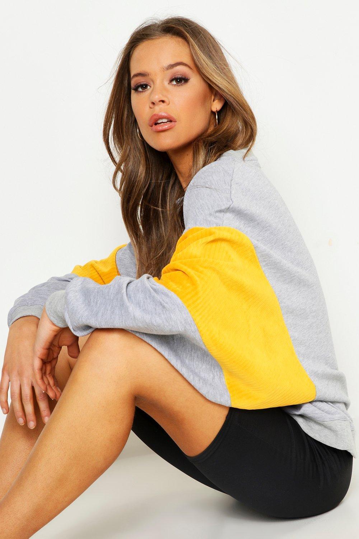 Womens Oversized-Sweatshirt mit Corddetail und Fledermausärmeln - grau - 34, Grau - Boohoo.com