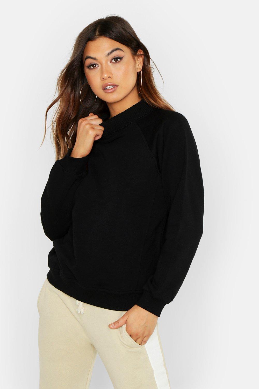 Womens Schweres Oversized-Sweatshirt aus Rippstrick mit Rollkragen - schwarz - 40, Schwarz - Boohoo.com
