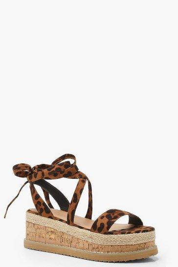 Leopard Wrap Strap Flatform Sandals