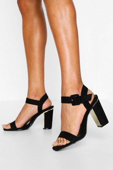 Black Wide Fit 2 Part Block Heels