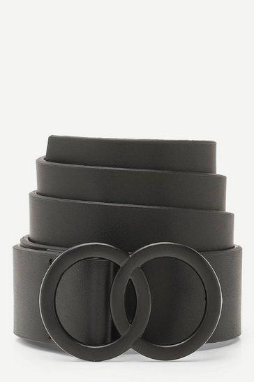 Black Matte Double Ring Buckle Boyfriend Belt