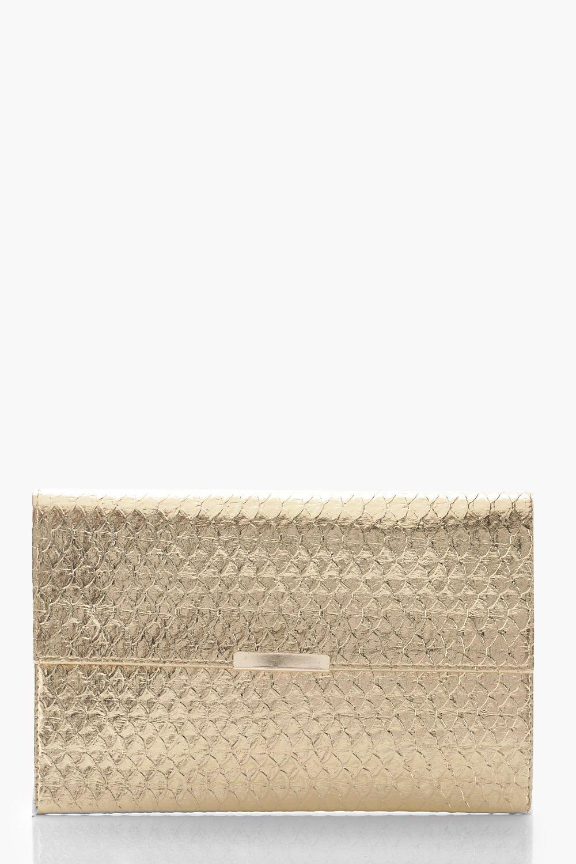 boohoo Womens Metallic Faux Snake Envelope Clutch Bag - Metallics - One Size, Metallics