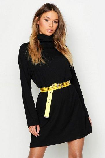 Black Roll Neck Ribbed Long Sleeve Mini Dress