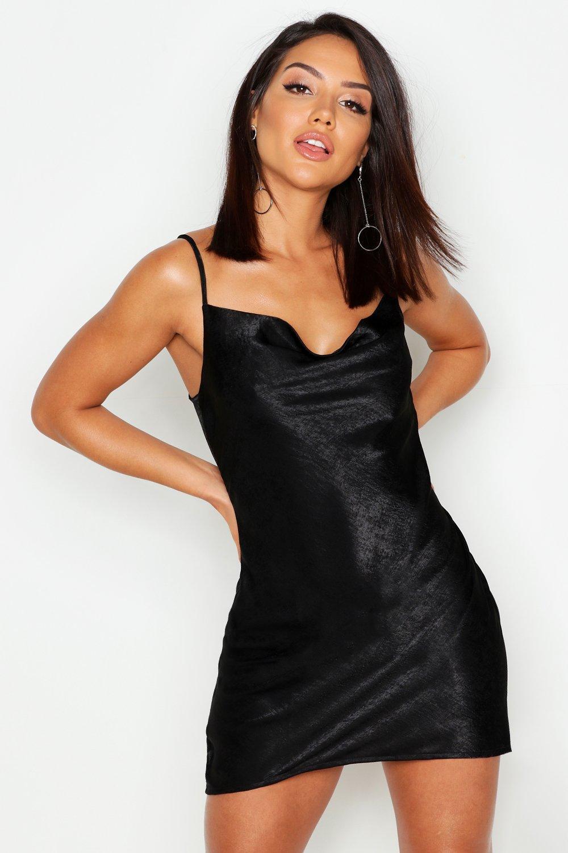 Купить К нам поступают платья, Платье-комбинация из атласа с воротником-хомутом, boohoo