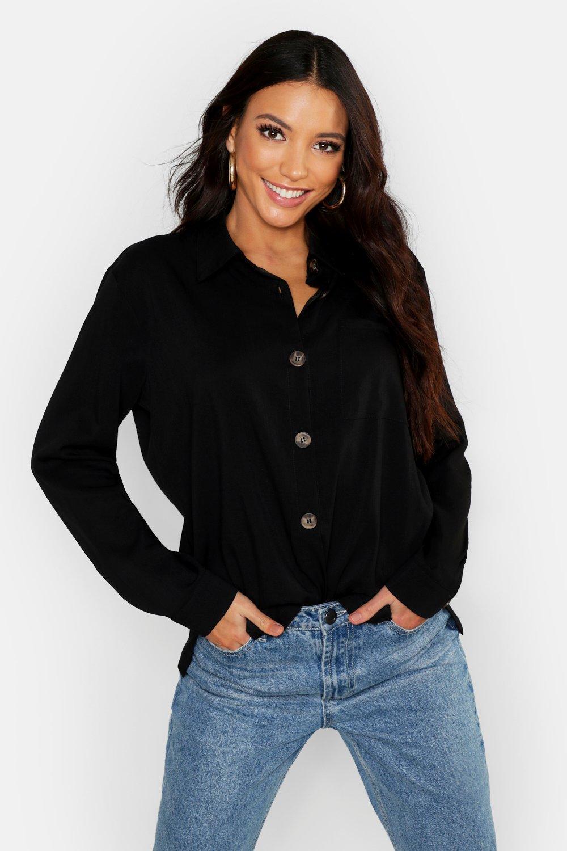 Womens Oversized-Hemd mit Knopfdetail - schwarz - 36, Schwarz - Boohoo.com