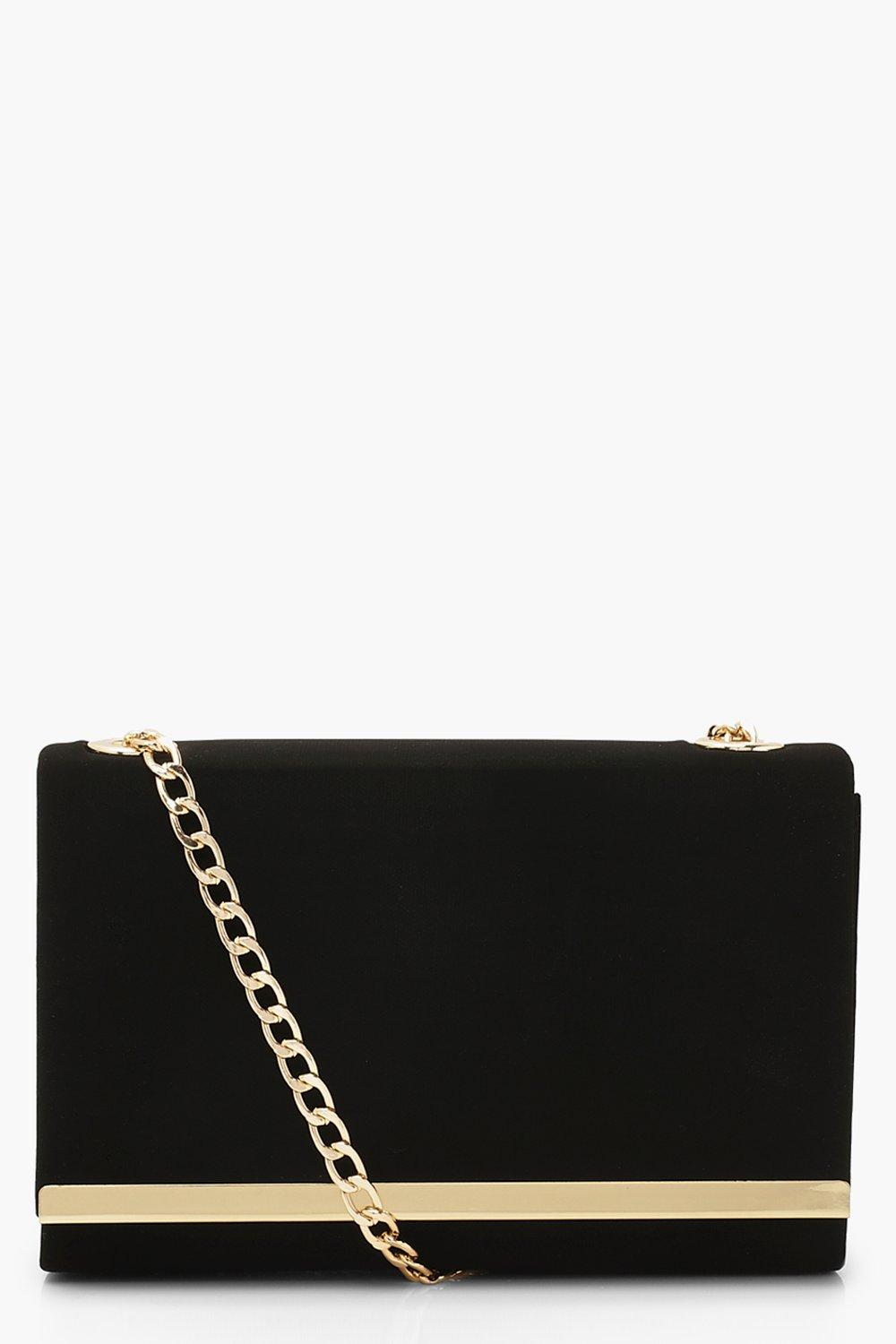 boohoo Womens Structured Suedette Clutch Bag And Chain - Black - One Size, Black