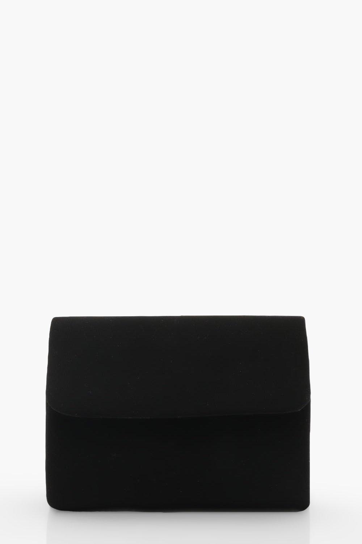 boohoo Womens Micro Mini Suedette Clutch And Chain Bag - Black - One Size, Black