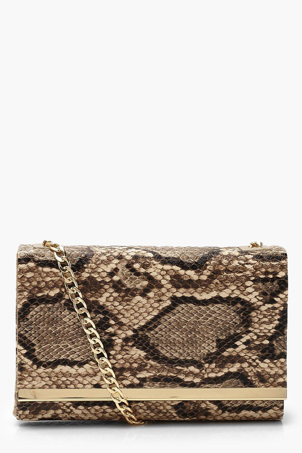boohoo Womens Faux Snake Structured Suedette Clutch Bag - Brown - One Size, Brown