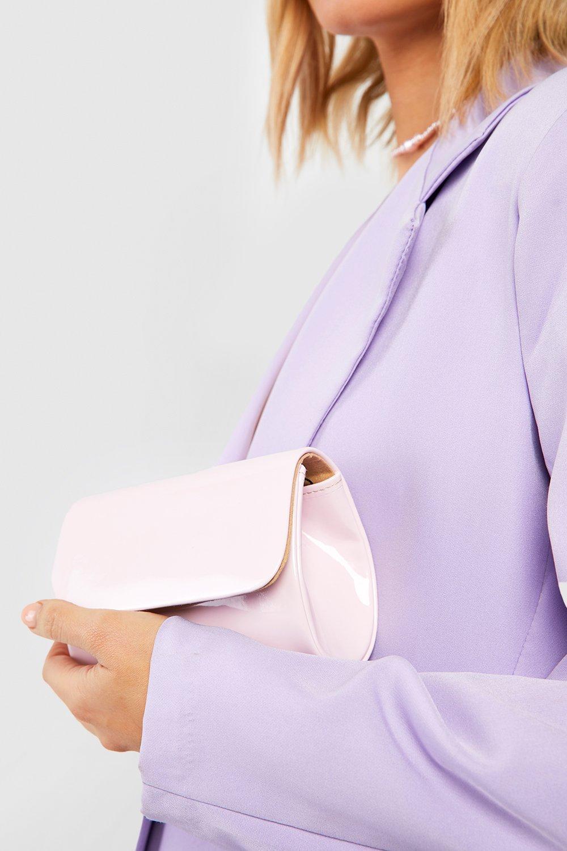 boohoo Womens Mini Structured Patent Clutch Bag & Chain - Beige - One Size, Beige