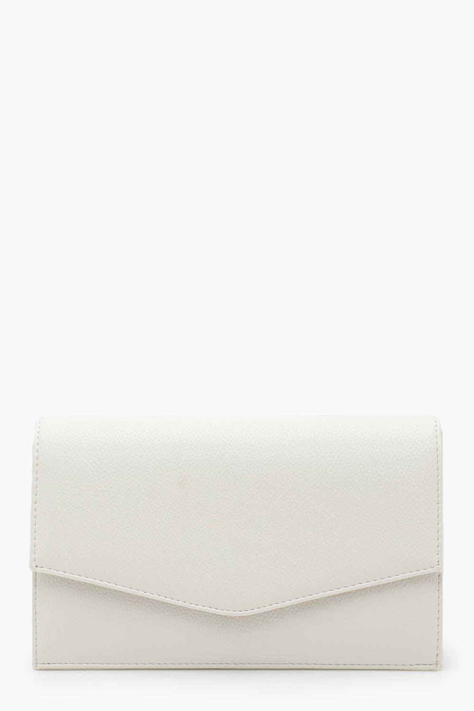 boohoo Womens Grainy Pu Envelope Clutch Bag & Chain - White - One Size, White