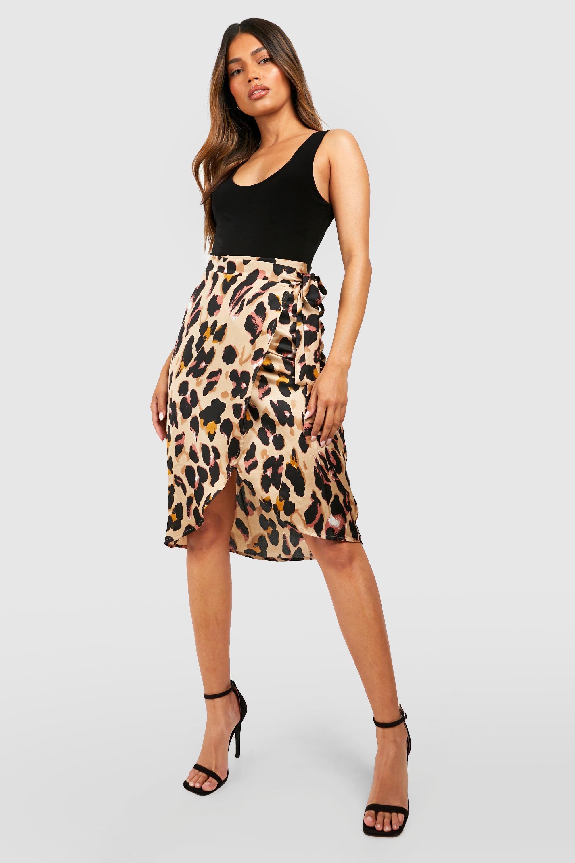 SALE Leopard Print Satin Wrap Midi Skirt