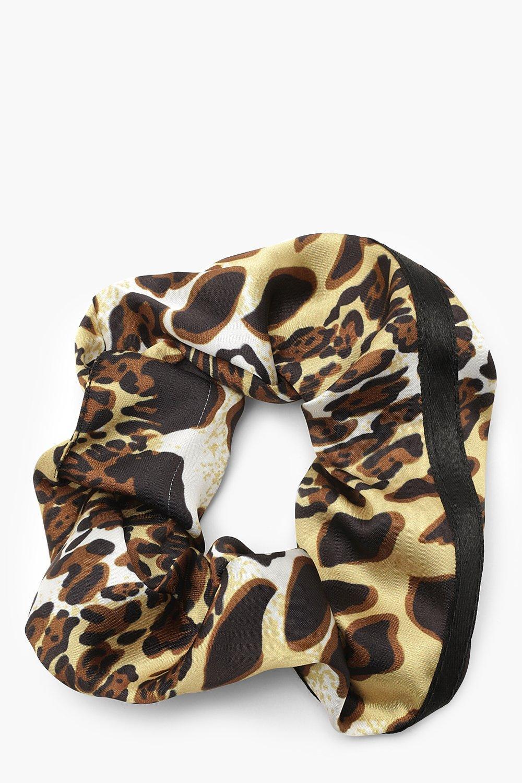 Купить Аксессуары для волос, Резинка-скранчи цвета лайма с леопардовым принтом, boohoo