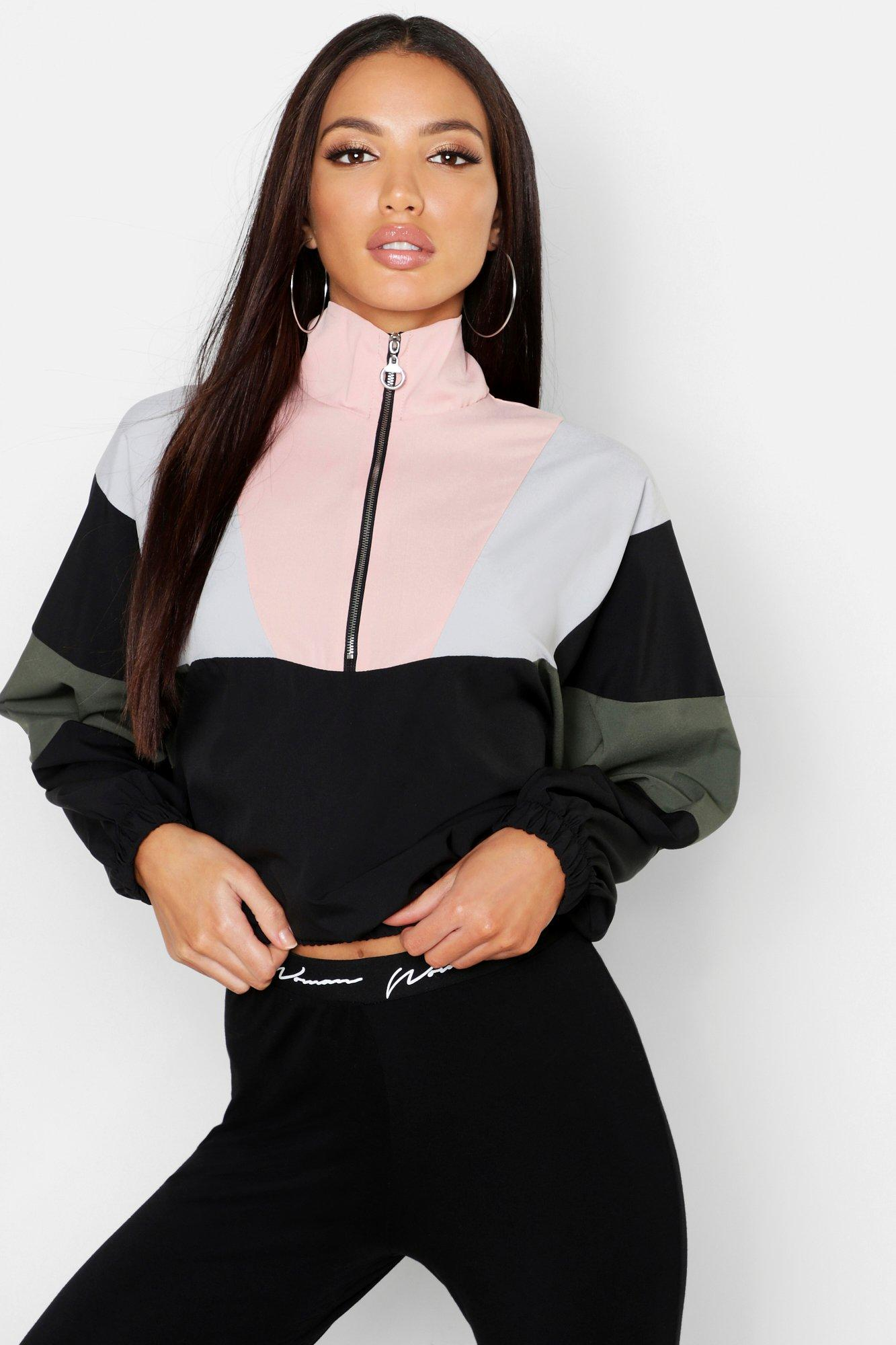 Womens Web-Sweatshirt im Farbblock-Design mit halbem Reißverschluss - rosa - 34, Rosa - Boohoo.com